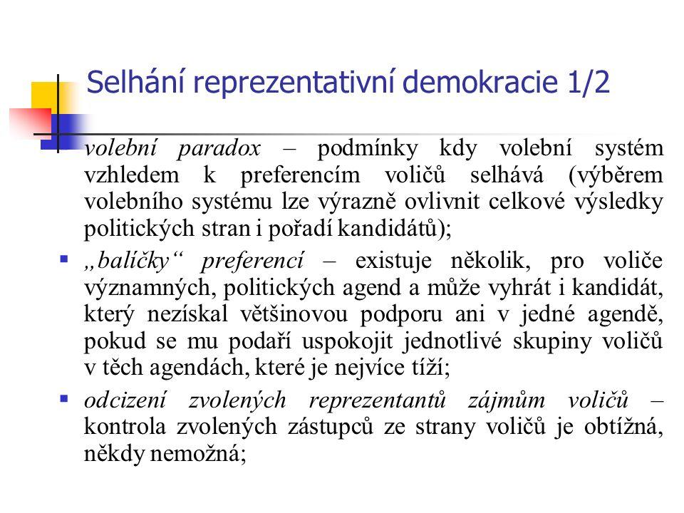 """Selhání reprezentativní demokracie 1/2  volební paradox – podmínky kdy volební systém vzhledem k preferencím voličů selhává (výběrem volebního systému lze výrazně ovlivnit celkové výsledky politických stran i pořadí kandidátů);  """"balíčky preferencí – existuje několik, pro voliče významných, politických agend a může vyhrát i kandidát, který nezískal většinovou podporu ani v jedné agendě, pokud se mu podaří uspokojit jednotlivé skupiny voličů v těch agendách, které je nejvíce tíží;  odcizení zvolených reprezentantů zájmům voličů – kontrola zvolených zástupců ze strany voličů je obtížná, někdy nemožná;"""