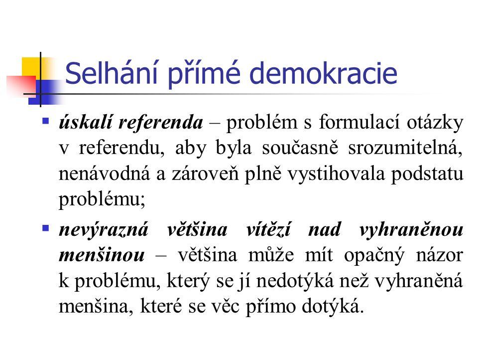 Selhání přímé demokracie  úskalí referenda – problém s formulací otázky v referendu, aby byla současně srozumitelná, nenávodná a zároveň plně vystiho