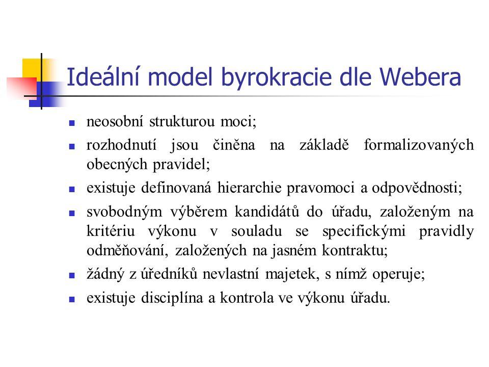Ideální model byrokracie dle Webera neosobní strukturou moci; rozhodnutí jsou činěna na základě formalizovaných obecných pravidel; existuje definovaná