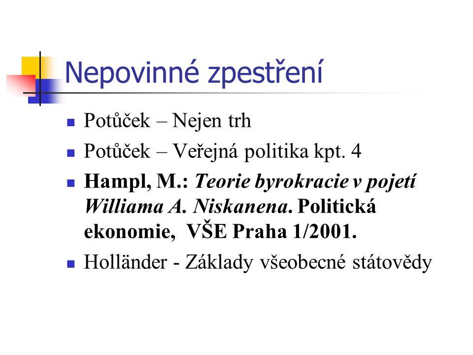 Nepovinné zpestření Potůček – Nejen trh Potůček – Veřejná politika kpt. 4 Hampl, M.: Teorie byrokracie v pojetí Williama A. Niskanena. Politická ekono