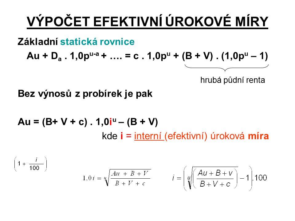 VÝPOČET EFEKTIVNÍ ÚROKOVÉ MÍRY Základní statická rovnice Au + D a.