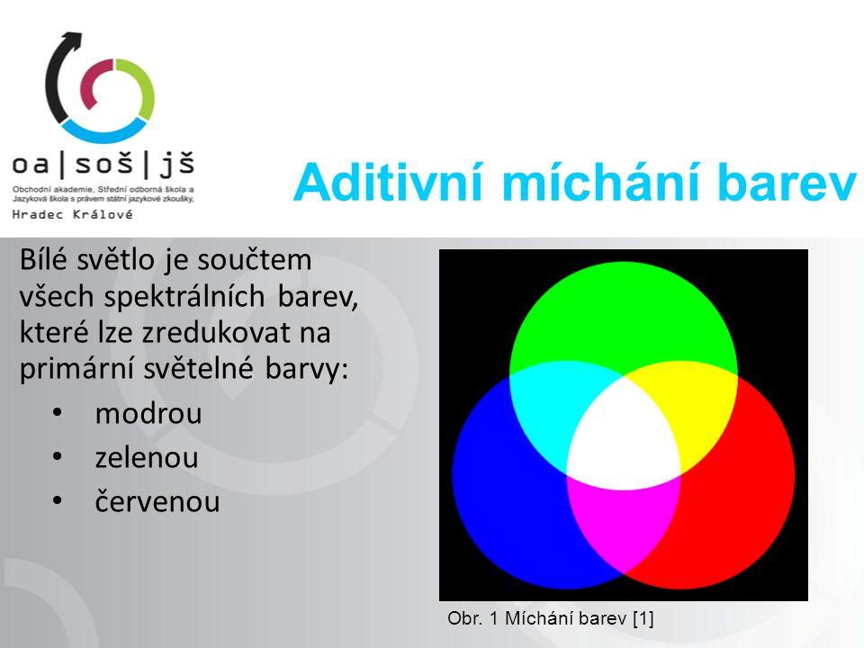 Aditivní míchání barev Bílé světlo je součtem všech spektrálních barev, které lze zredukovat na primární světelné barvy: modrou zelenou červenou Obr.