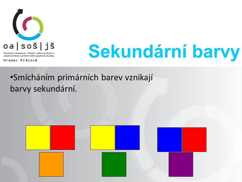 Sekundární barvy Smícháním primárních barev vznikají barvy sekundární.