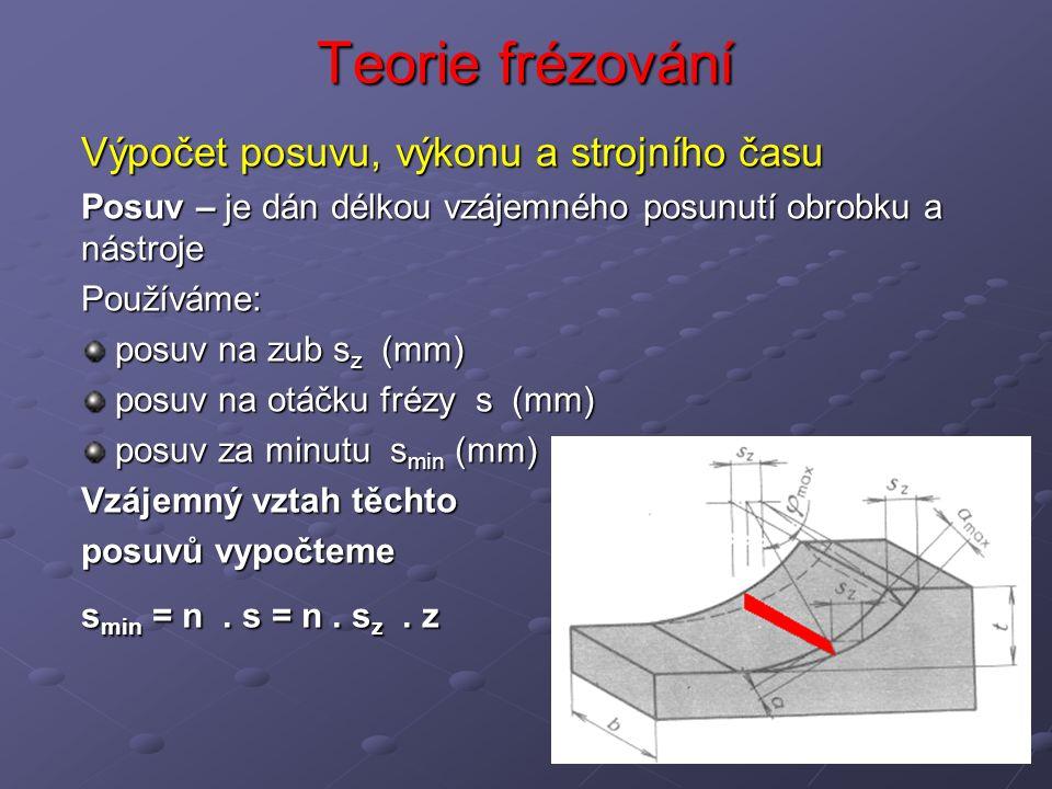 Teorie frézování Výpočet posuvu, výkonu a strojního času Posuv – je dán délkou vzájemného posunutí obrobku a nástroje Používáme: posuv na zub s z (mm) posuv na zub s z (mm) posuv na otáčku frézy s (mm) posuv na otáčku frézy s (mm) posuv za minutu s min (mm) posuv za minutu s min (mm) Vzájemný vztah těchto posuvů vypočteme s min = n.