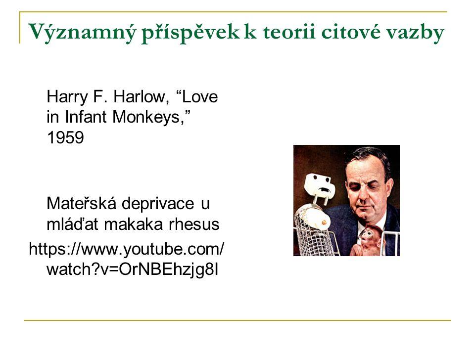 """Významný příspěvek k teorii citové vazby Harry F. Harlow, """"Love in Infant Monkeys,"""" 1959 Mateřská deprivace u mláďat makaka rhesus https://www.youtube"""