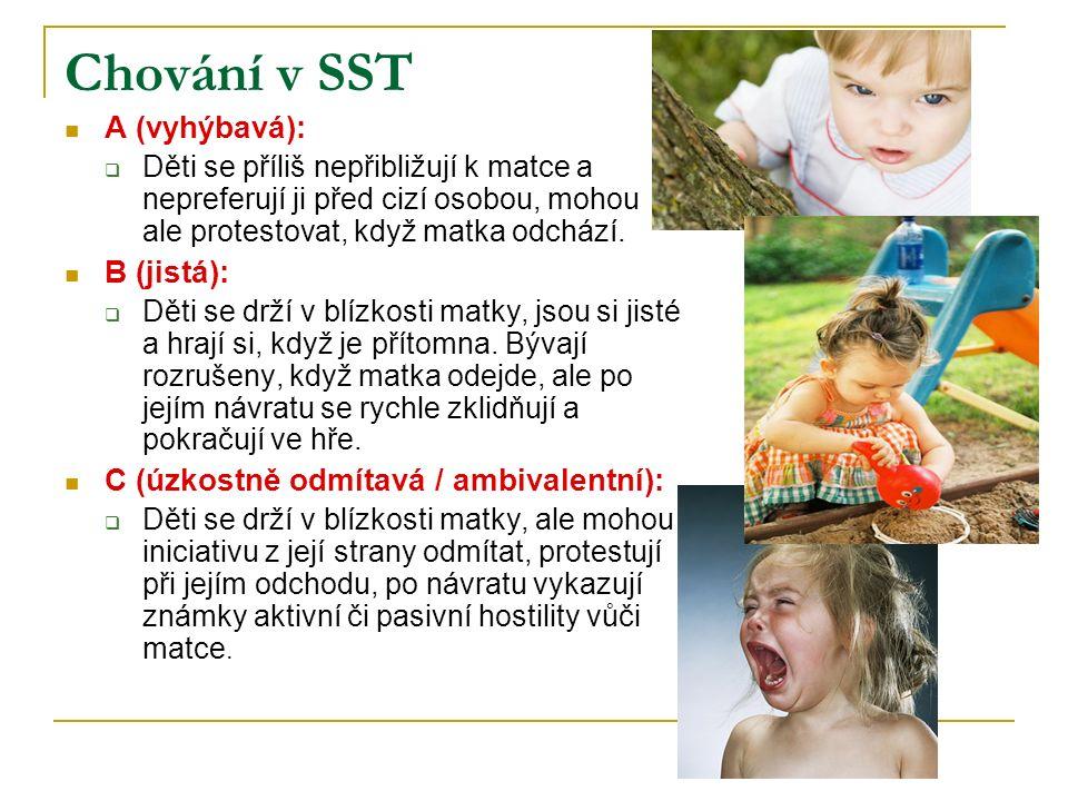 Chování v SST A (vyhýbavá):  Děti se příliš nepřibližují k matce a nepreferují ji před cizí osobou, mohou ale protestovat, když matka odchází. B (jis
