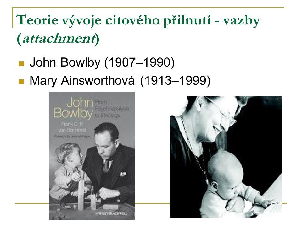 Teorie vývoje citového přilnutí - vazby (attachment) John Bowlby (1907–1990) Mary Ainsworthová (1913–1999)
