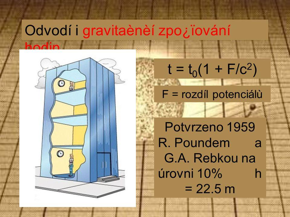 Odvodí i gravitaènèí zpo¿ïování hodin t = t 0 (1 + F/c 2 ) Potvrzeno 1959 R.
