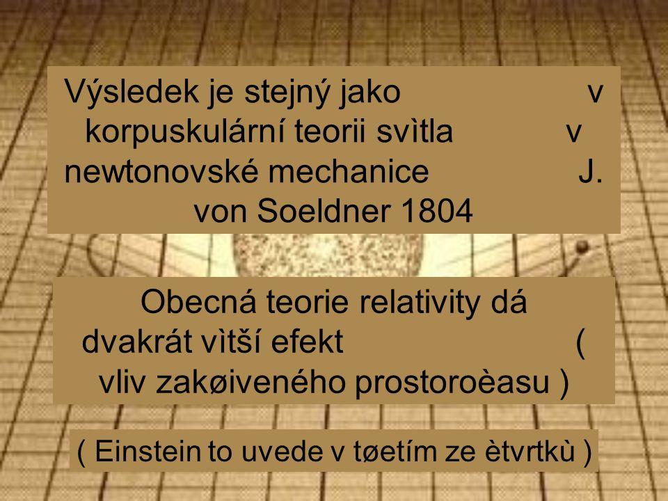 Výsledek je stejný jako v korpuskulární teorii svìtla v newtonovské mechanice J.