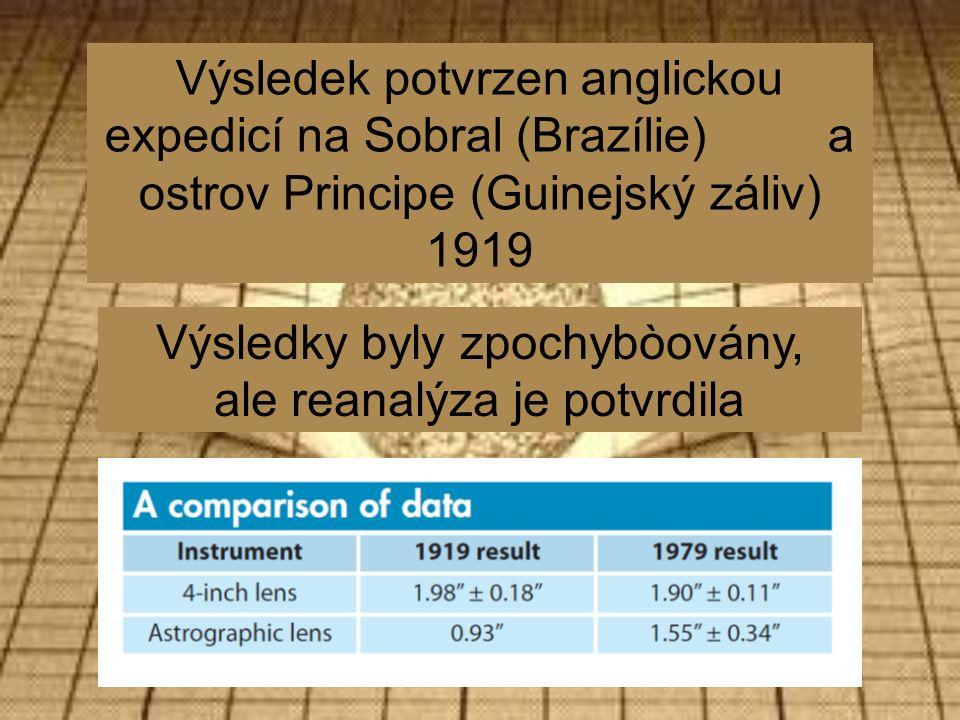 Výsledek potvrzen anglickou expedicí na Sobral (Brazílie) a ostrov Principe (Guinejský záliv) 1919 Výsledky byly zpochybòovány, ale reanalýza je potvrdila