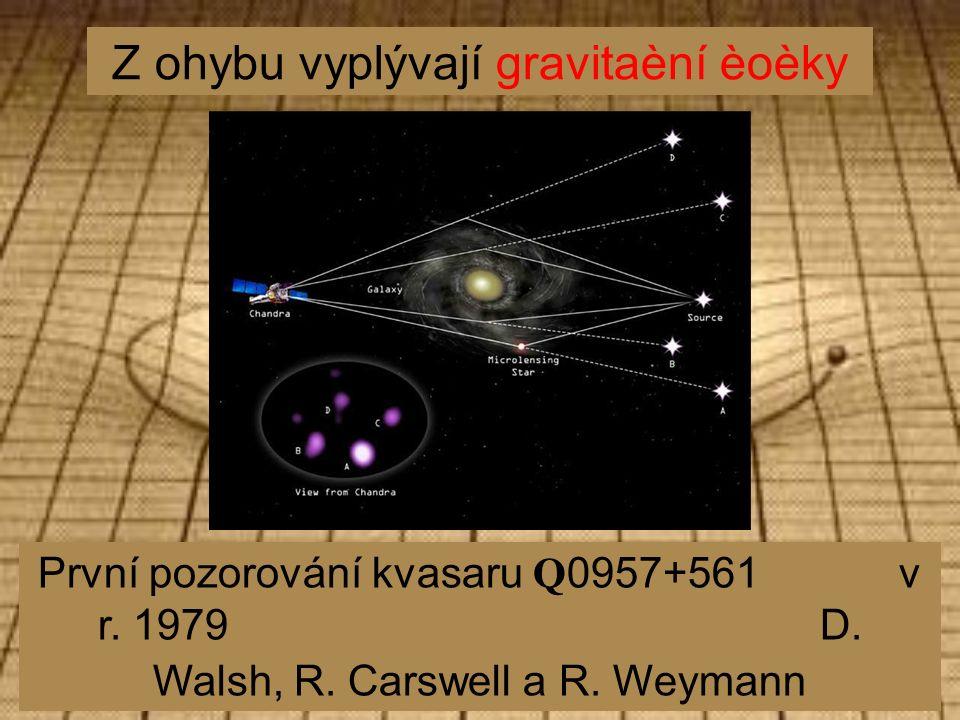 Z ohybu vyplývají gravitaèní èoèky První pozorování kvasaru Q 0957+561 v r.