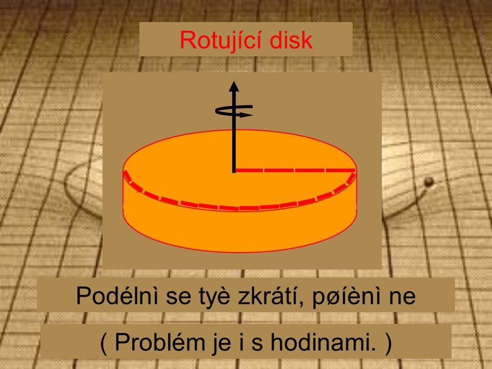 Rotující disk Podélnì se tyè zkrátí, pøíènì ne ( Problém je i s hodinami. )