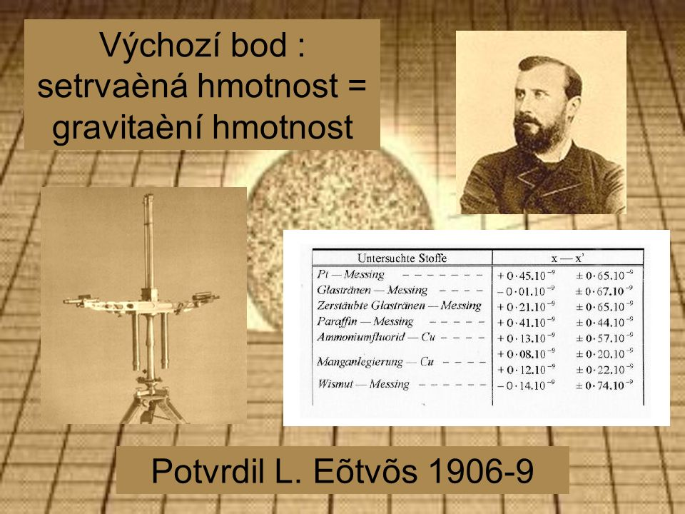 Výchozí bod : setrvaèná hmotnost = gravitaèní hmotnost Potvrdil L. Eõtvõs 1906-9