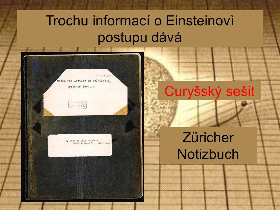 Curyšský sešit Züricher Notizbuch Trochu informací o Einsteinovì postupu dává