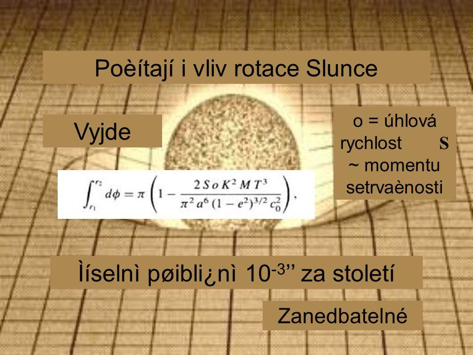 Poèítají i vliv rotace Slunce Vyjde Ìíselnì pøibli¿nì 10 -3 '' za století Zanedbatelné o = úhlová rychlost S ~ momentu setrvaènosti