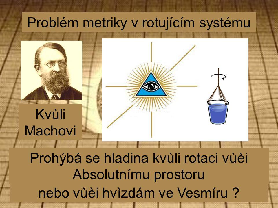 Problém metriky v rotujícím systému Kvùli Machovi Prohýbá se hladina kvùli rotaci vùèi Absolutnímu prostoru nebo vùèi hvìzdám ve Vesmíru