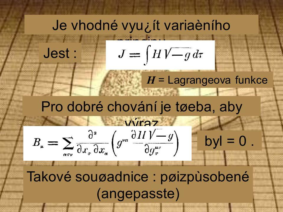 Je vhodné vyu¿ít variaèního principu Jest : H = Lagrangeova funkce Pro dobré chování je tøeba, aby výraz byl = 0.