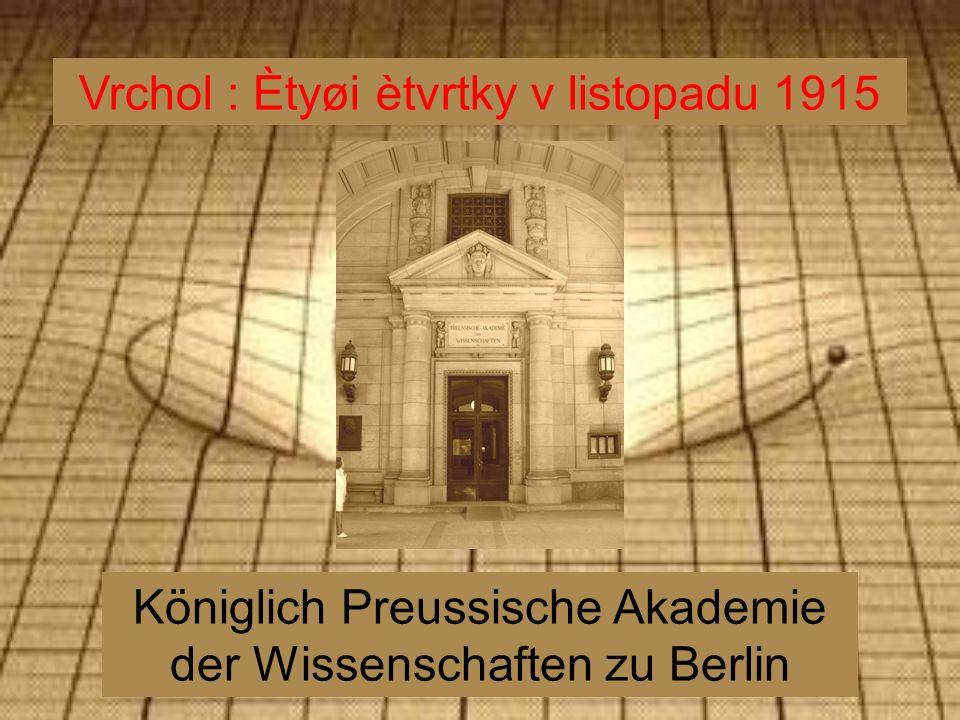 Königlich Preussische Akademie der Wissenschaften zu Berlin Vrchol : Ètyøi ètvrtky v listopadu 1915