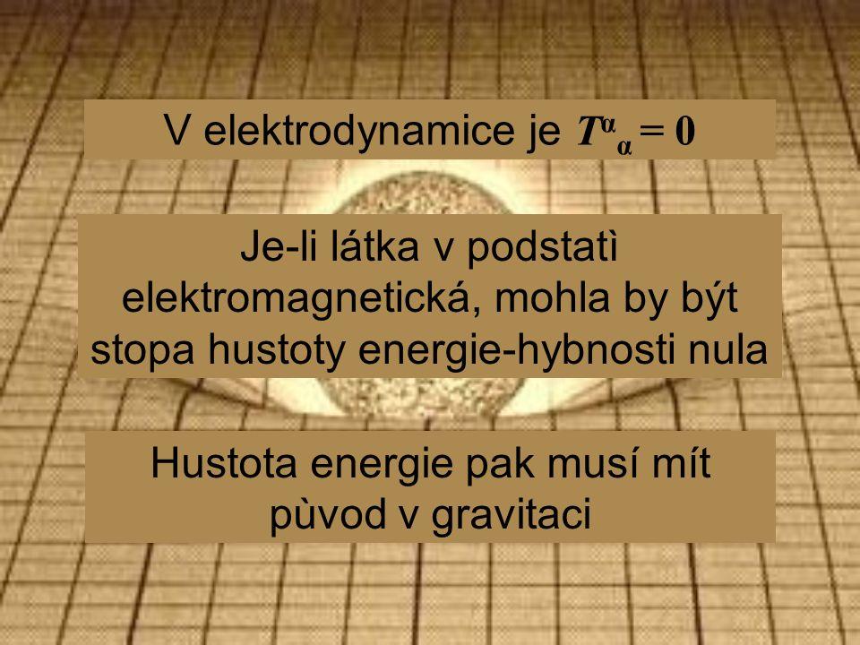 V elektrodynamice je T α α = 0 Je-li látka v podstatì elektromagnetická, mohla by být stopa hustoty energie-hybnosti nula Hustota energie pak musí mít pùvod v gravitaci