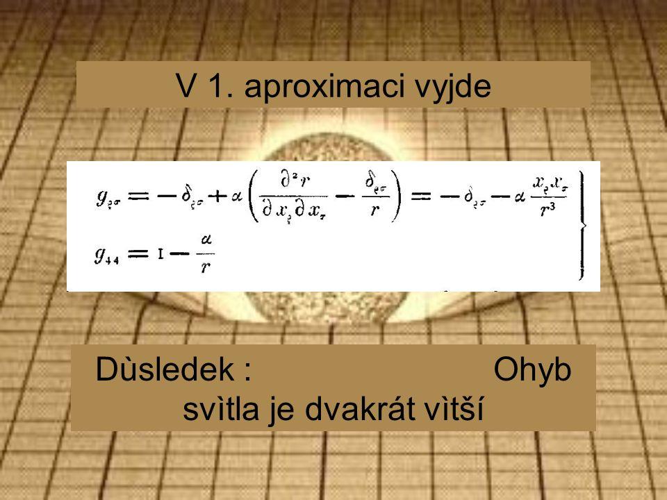 V 1. aproximaci vyjde Dùsledek : Ohyb svìtla je dvakrát vìtší
