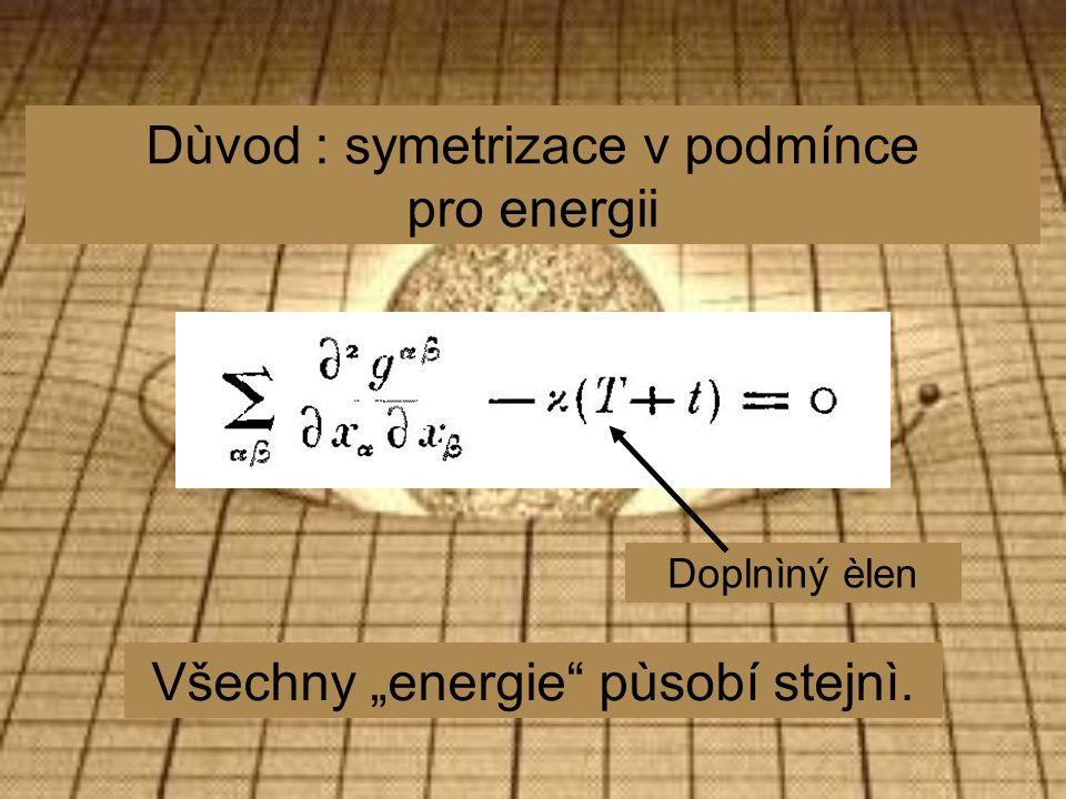 """Dùvod : symetrizace v podmínce pro energii Doplnìný èlen Všechny """"energie pùsobí stejnì."""