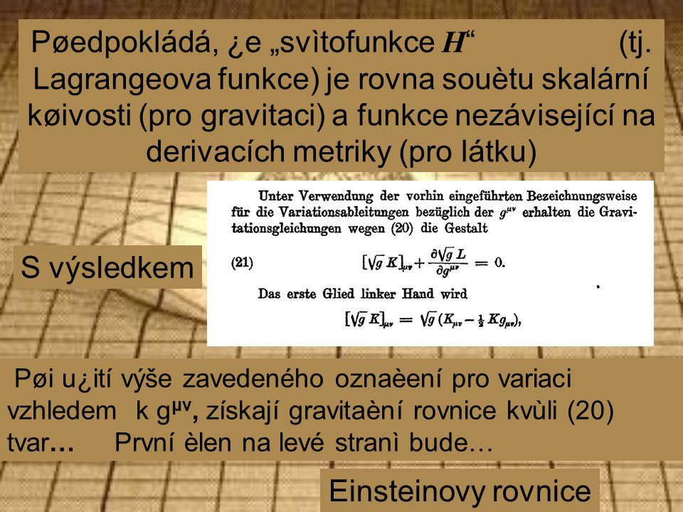 """Pøedpokládá, ¿e """"svìtofunkce H (tj."""