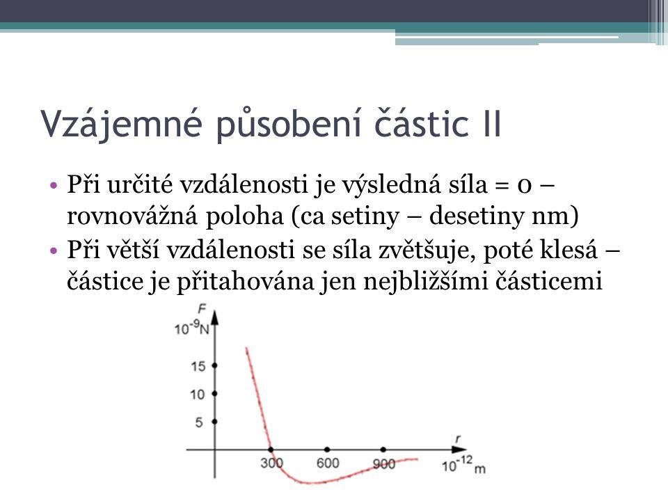 Vzájemné působení částic II Při určité vzdálenosti je výsledná síla = 0 – rovnovážná poloha (ca setiny – desetiny nm) Při větší vzdálenosti se síla zvětšuje, poté klesá – částice je přitahována jen nejbližšími částicemi
