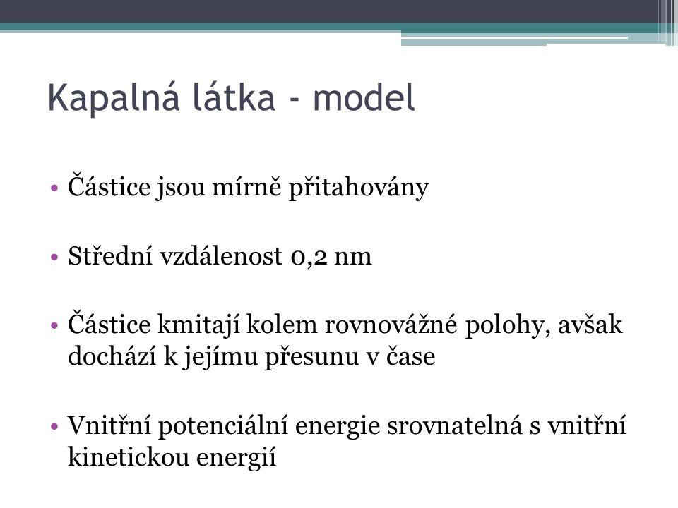 Kapalná látka - model Částice jsou mírně přitahovány Střední vzdálenost 0,2 nm Částice kmitají kolem rovnovážné polohy, avšak dochází k jejímu přesunu v čase Vnitřní potenciální energie srovnatelná s vnitřní kinetickou energií