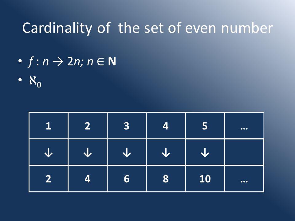 Cardinality of the set of even number f : n → 2n; n ∈ N ℵ 0 12345… ↓↓↓↓↓ 246810…