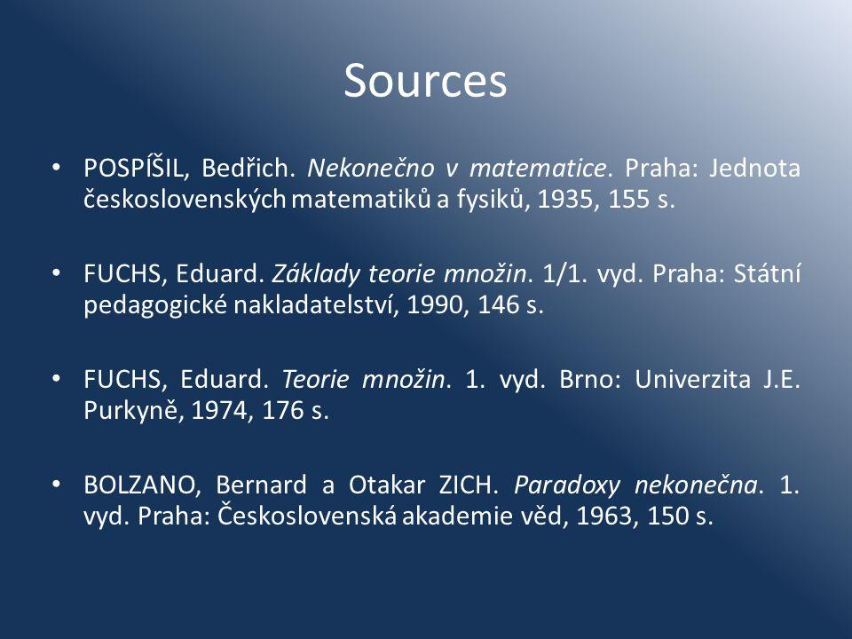 Sources POSPÍŠIL, Bedřich. Nekonečno v matematice. Praha: Jednota československých matematiků a fysiků, 1935, 155 s. FUCHS, Eduard. Základy teorie mno