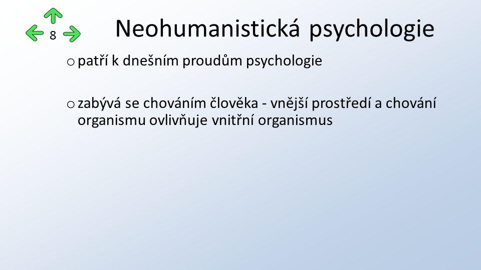 o patří k dnešním proudům psychologie o zabývá se chováním člověka - vnější prostředí a chování organismu ovlivňuje vnitřní organismus Neohumanistická psychologie 8