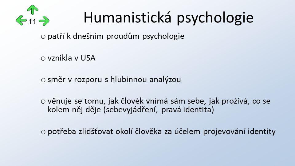 o patří k dnešním proudům psychologie o vznikla v USA o směr v rozporu s hlubinnou analýzou o věnuje se tomu, jak člověk vnímá sám sebe, jak prožívá, co se kolem něj děje (sebevyjádření, pravá identita) o potřeba zlidšťovat okolí člověka za účelem projevování identity Humanistická psychologie 11