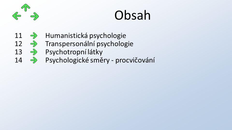 Obsah Humanistická psychologie11 Transpersonální psychologie12 Psychotropní látky13 Psychologické směry - procvičování14
