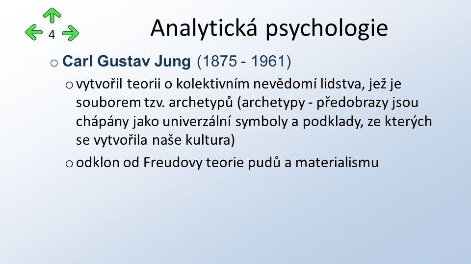 o Carl Gustav Jung (1875 - 1961) o vytvořil teorii o kolektivním nevědomí lidstva, jež je souborem tzv. archetypů (archetypy - předobrazy jsou chápány