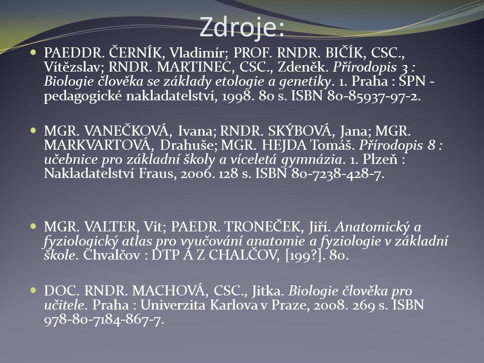 Zdroje: PAEDDR. ČERNÍK, Vladimír; PROF. RNDR. BIČÍK, CSC., Vítězslav; RNDR.