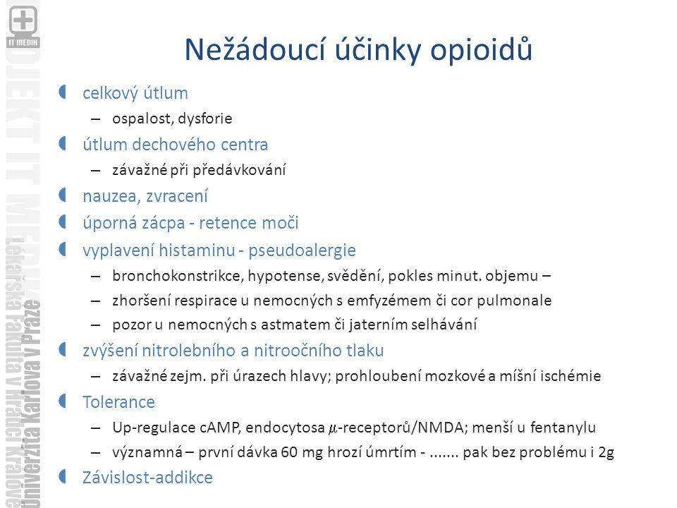 Nežádoucí účinky opioidů  celkový útlum – ospalost, dysforie  útlum dechového centra – závažné při předávkování  nauzea, zvracení  úporná zácpa - retence moči  vyplavení histaminu - pseudoalergie – bronchokonstrikce, hypotense, svědění, pokles minut.