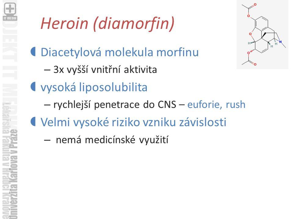 Heroin (diamorfin)  Diacetylová molekula morfinu – 3x vyšší vnitřní aktivita  vysoká liposolubilita – rychlejší penetrace do CNS – euforie, rush  Velmi vysoké riziko vzniku závislosti – nemá medicínské využití