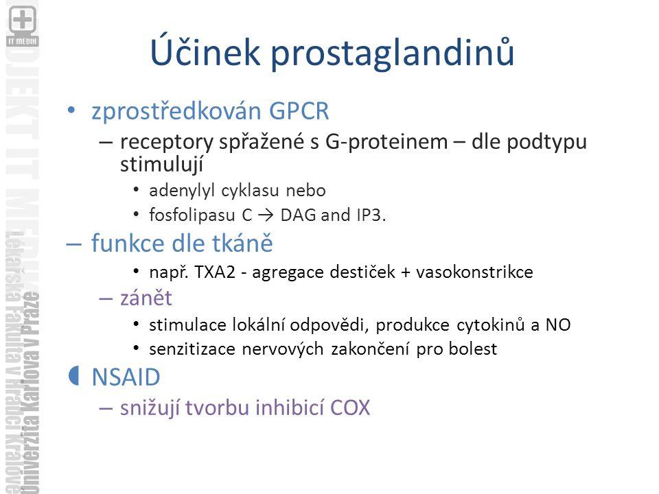 Účinek prostaglandinů zprostředkován GPCR – receptory spřažené s G-proteinem – dle podtypu stimulují adenylyl cyklasu nebo fosfolipasu C → DAG and IP3.