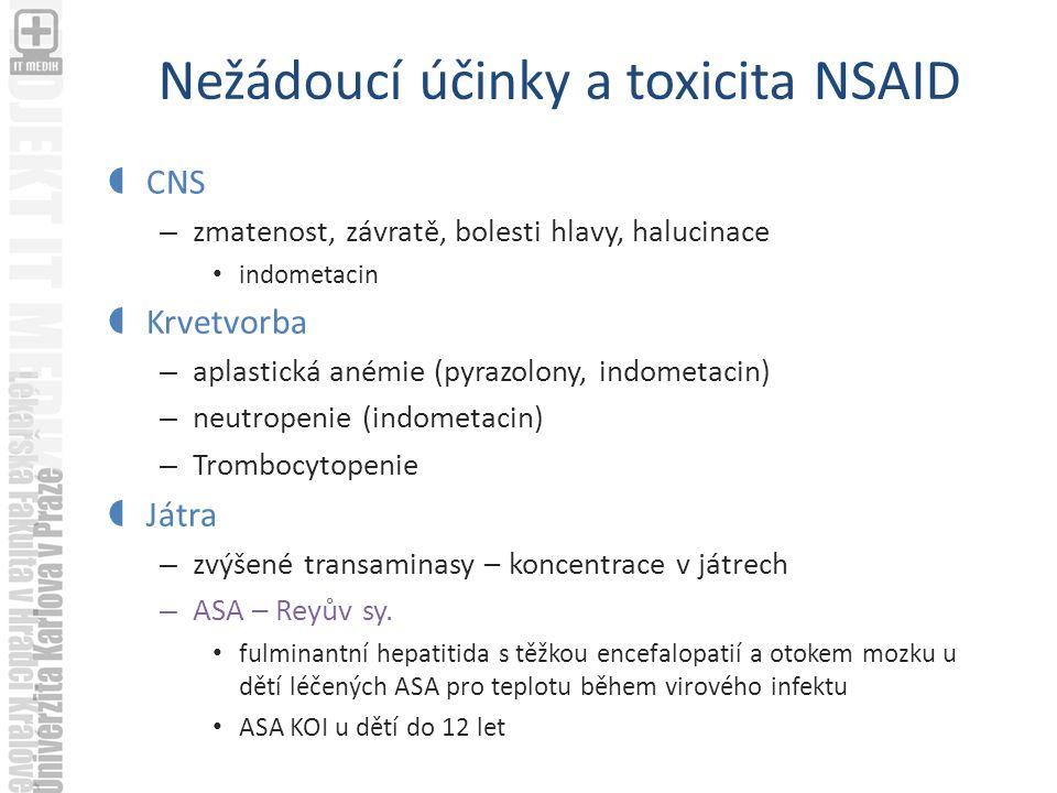 Nežádoucí účinky a toxicita NSAID  CNS – zmatenost, závratě, bolesti hlavy, halucinace indometacin  Krvetvorba – aplastická anémie (pyrazolony, indometacin) – neutropenie (indometacin) – Trombocytopenie  Játra – zvýšené transaminasy – koncentrace v játrech – ASA – Reyův sy.