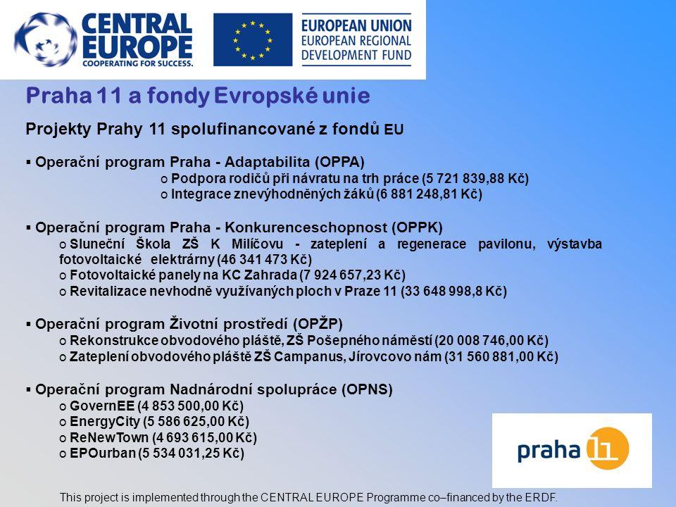 3 Praha 11 a fondy Evropské unie Projekty Prahy 11 spolufinancované z fondů EU  Operační program Praha - Adaptabilita (OPPA) o Podpora rodičů při náv