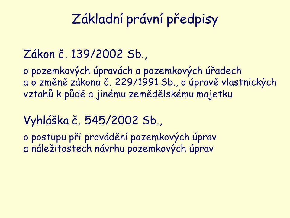 Zákon č. 139/2002 Sb., o pozemkových úpravách a pozemkových úřadech a o změně zákona č.
