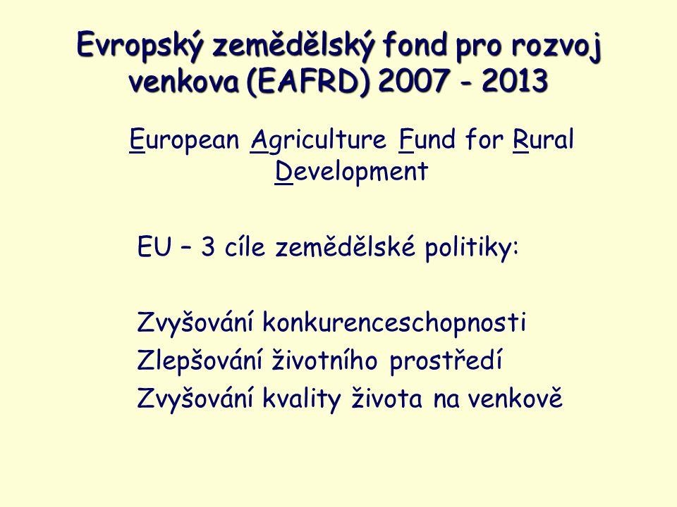 European Agriculture Fund for Rural Development EU – 3 cíle zemědělské politiky: Zvyšování konkurenceschopnosti Zlepšování životního prostředí Zvyšování kvality života na venkově Evropský zemědělský fond pro rozvoj venkova (EAFRD) 2007 - 2013