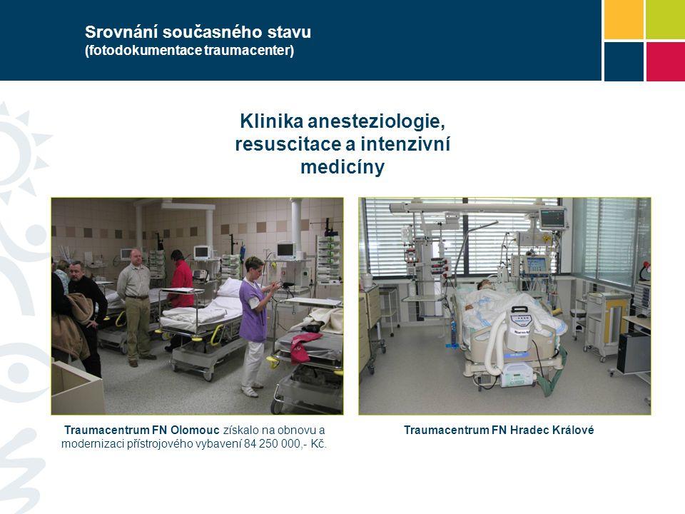 Srovnání současného stavu (fotodokumentace traumacenter) Klinika anesteziologie, resuscitace a intenzivní medicíny Traumacentrum FN Olomouc získalo na obnovu a modernizaci přístrojového vybavení 84 250 000,- Kč.