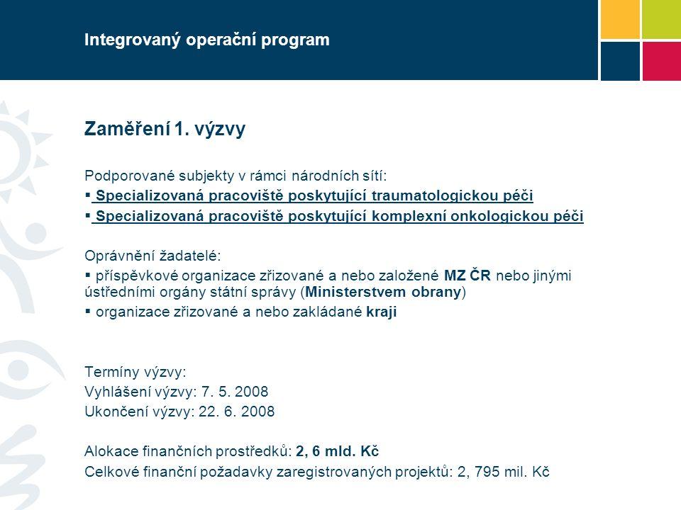 Integrovaný operační program Zaměření 1.
