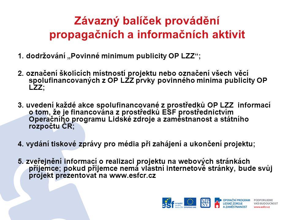 """Závazný balíček provádění propagačních a informačních aktivit 1. dodržování """"Povinné minimum publicity OP LZZ""""; 2. označení školících místností projek"""
