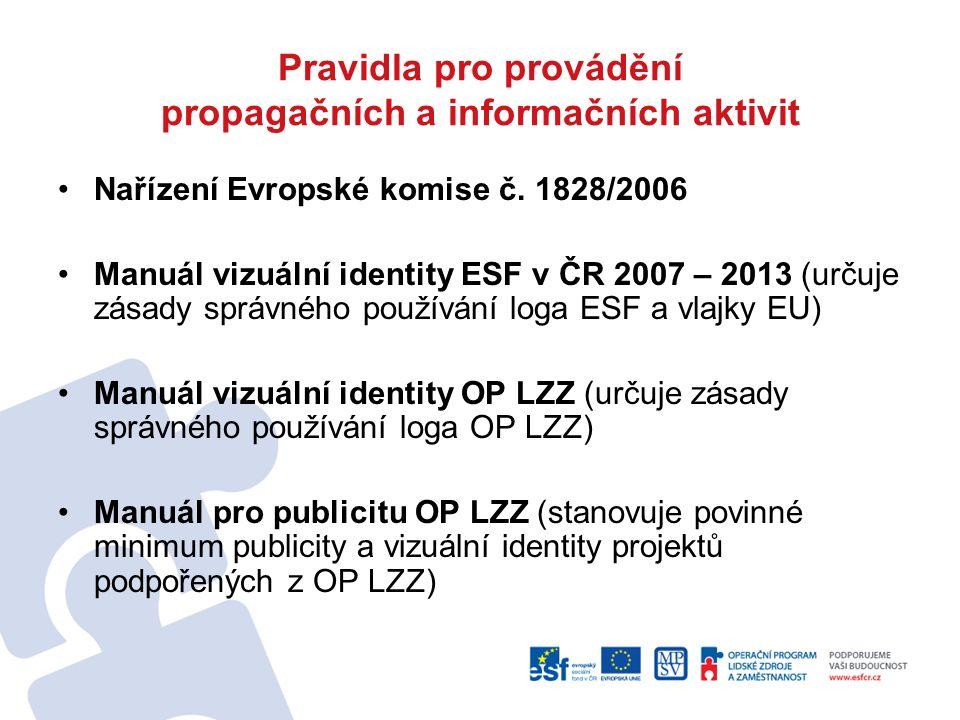 Pravidla pro provádění propagačních a informačních aktivit Nařízení Evropské komise č. 1828/2006 Manuál vizuální identity ESF v ČR 2007 – 2013 (určuje