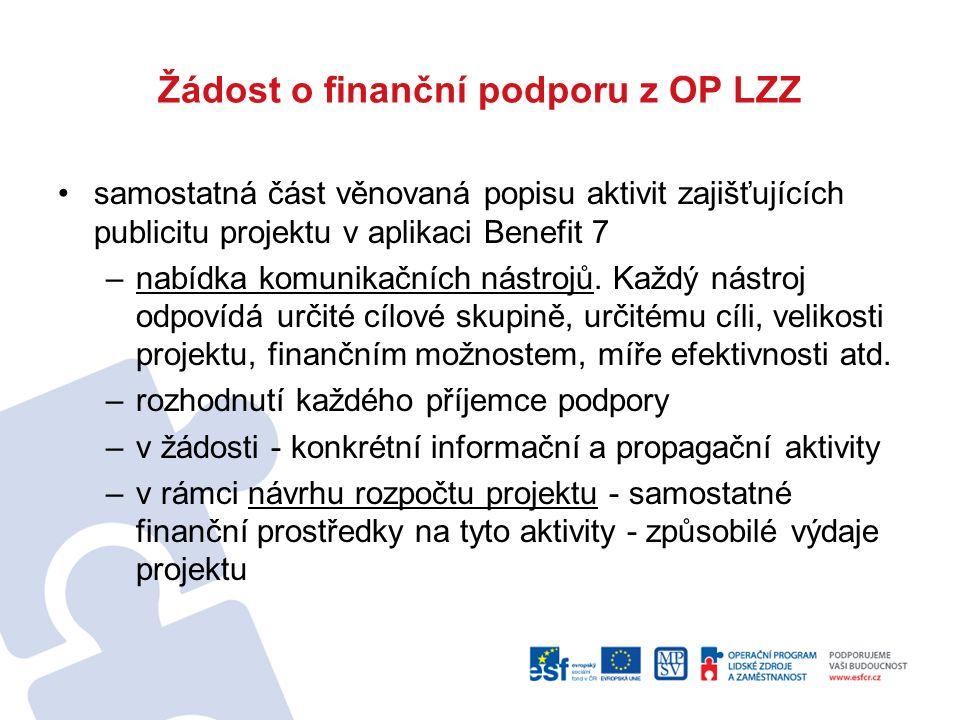 Žádost o finanční podporu z OP LZZ samostatná část věnovaná popisu aktivit zajišťujících publicitu projektu v aplikaci Benefit 7 –nabídka komunikačních nástrojů.