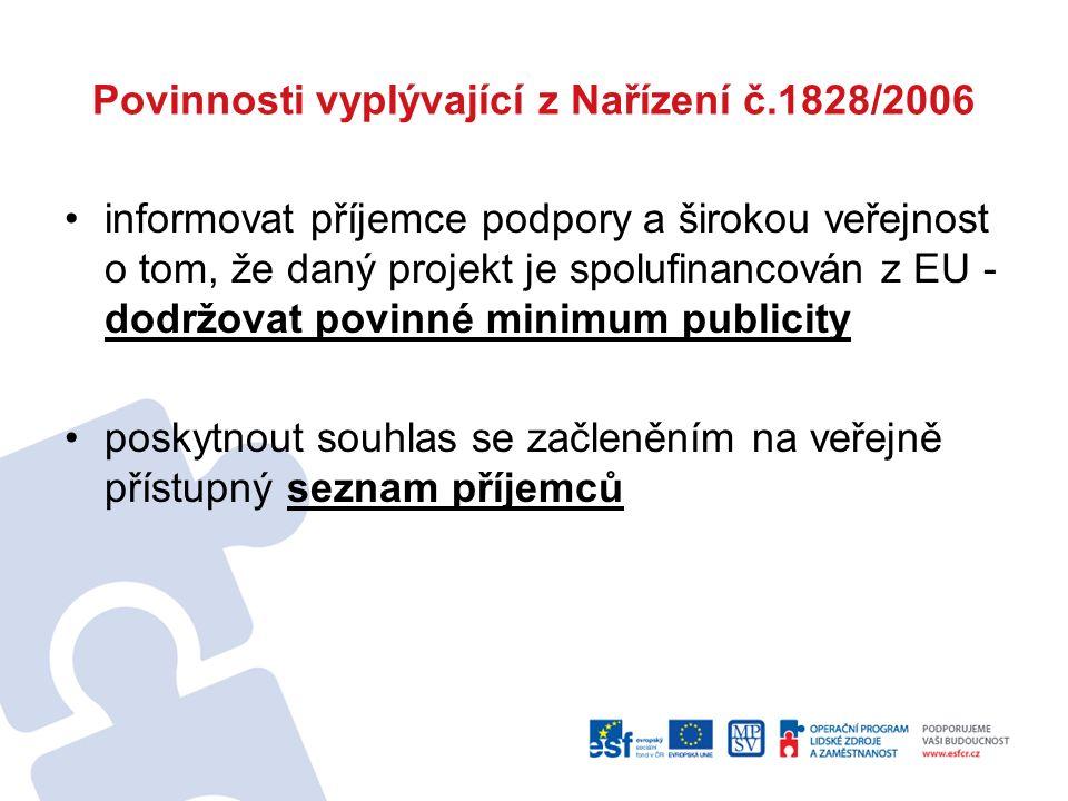 Povinnosti vyplývající z Nařízení č.1828/2006 informovat příjemce podpory a širokou veřejnost o tom, že daný projekt je spolufinancován z EU - dodržov