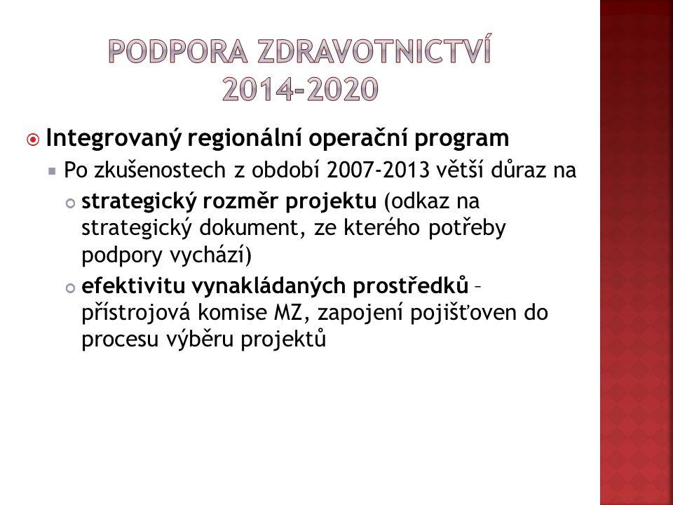  Integrovaný regionální operační program  Po zkušenostech z období 2007-2013 větší důraz na strategický rozměr projektu (odkaz na strategický dokument, ze kterého potřeby podpory vychází) efektivitu vynakládaných prostředků – přístrojová komise MZ, zapojení pojišťoven do procesu výběru projektů