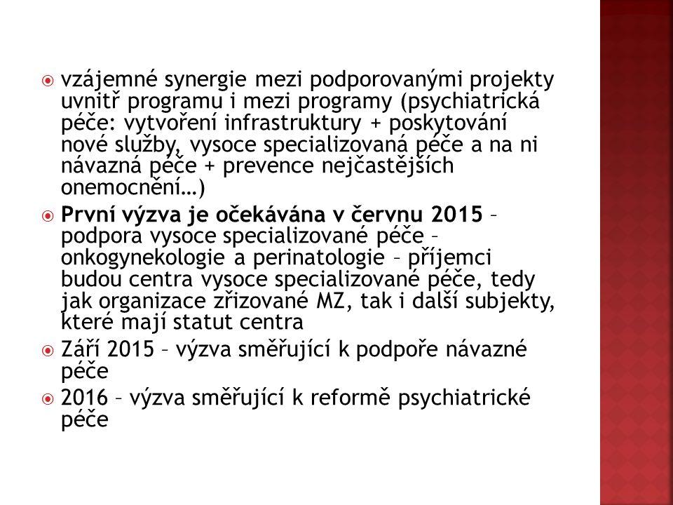  vzájemné synergie mezi podporovanými projekty uvnitř programu i mezi programy (psychiatrická péče: vytvoření infrastruktury + poskytování nové služby, vysoce specializovaná péče a na ni návazná péče + prevence nejčastějších onemocnění…)  První výzva je očekávána v červnu 2015 – podpora vysoce specializované péče – onkogynekologie a perinatologie – příjemci budou centra vysoce specializované péče, tedy jak organizace zřizované MZ, tak i další subjekty, které mají statut centra  Září 2015 – výzva směřující k podpoře návazné péče  2016 – výzva směřující k reformě psychiatrické péče